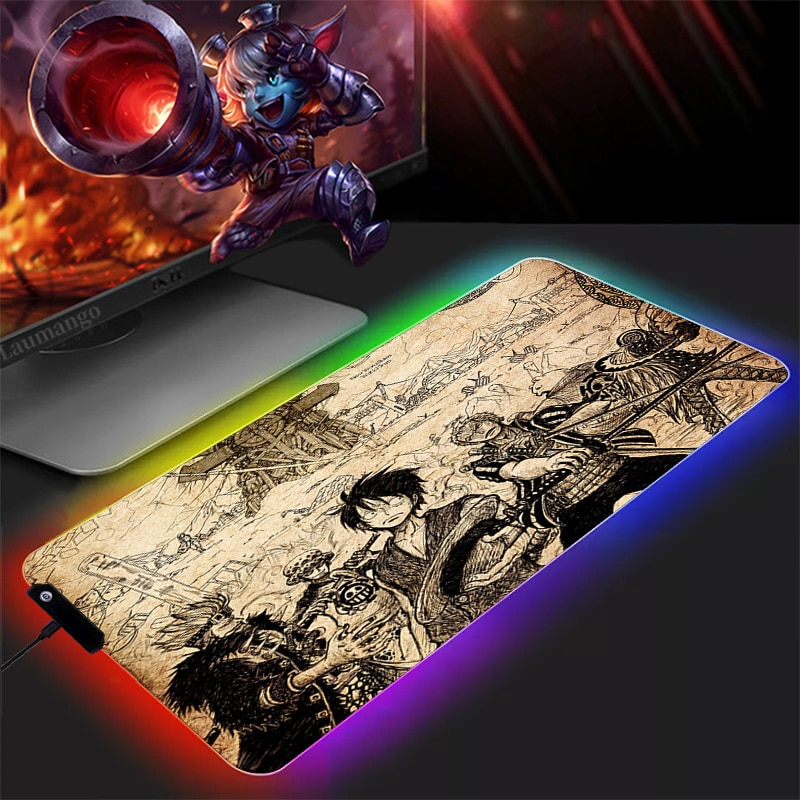 RGB One Piece Mousepad Gamer PC Carpet Computer Mouse Pad Anime Gaming Accessories Keyboard Large XXL Rubber CSGO LOL Dota Table