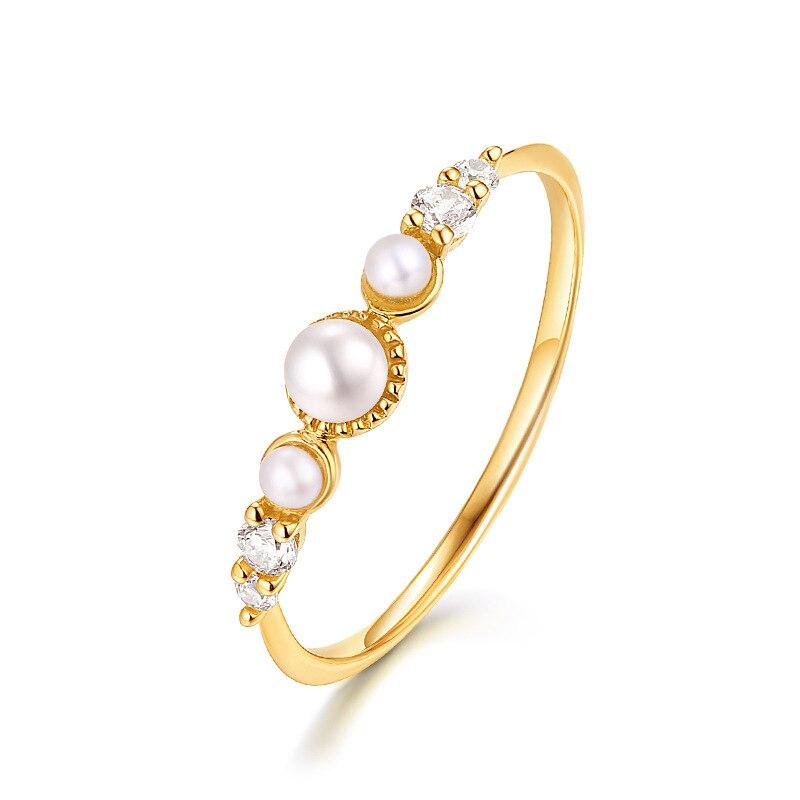 Delicados anillos de perlas de oro amarillo puro de 14K para la novia de la novia elegantes bandas de cristal joyería fina del Aniversario