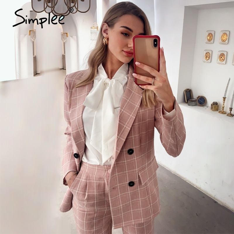 Simplee Fashion plaid women blazer suits Long sleeve double breasted blazer pants set Pink office la
