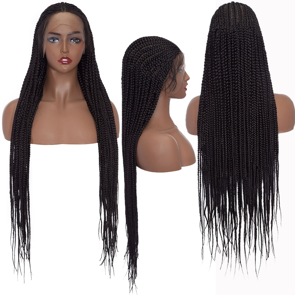 My-Lady 36inch Box Braided Lace Front Wig Synthetic Long BlackLace Frontal Braided Wig With Baby Hair Afro Wig For Black Women enlarge
