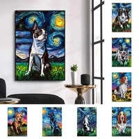 abstract graffiti dog night animal poster wall art canvas painting prints hd modular pictures living room home decoration modern