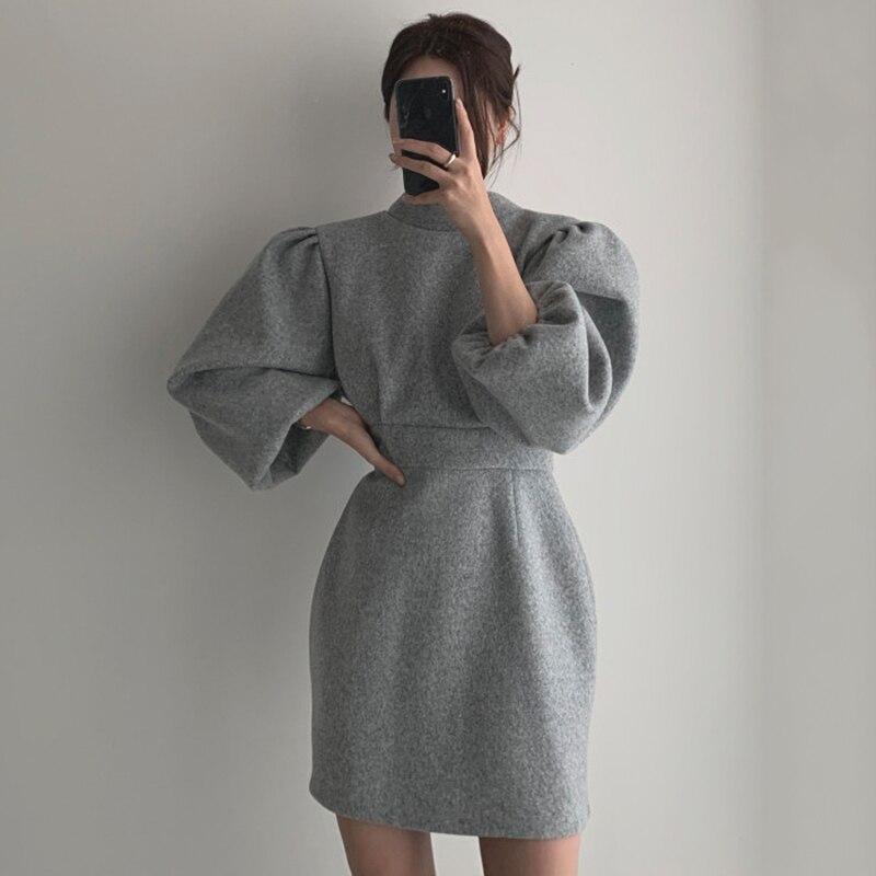 Sannian женское платье Новая осень Стенд воротник со стразами, с открытой спиной, кружевные, с завышенной талией, с рукавами-фонариками шерстяные платья женская одежда сексуальное платье