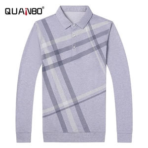 QUANBO Mens Classic Long Sleeve Striped Golf Polo Shirt 2020 New Autumn Fashion Rugby Cotton Soft Men Polo Shirt Brand Clothes