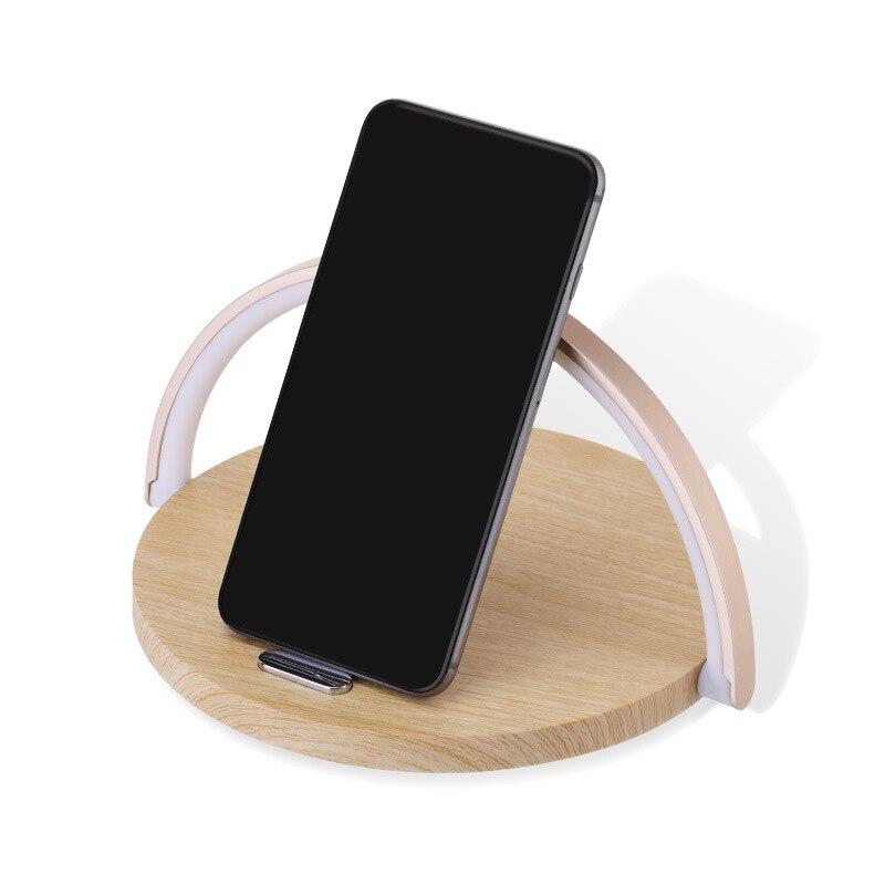 Cargador rápido inalámbrico lámpara de mesa luz de noche soporte de teléfono almohadilla para IPhone Samsung teléfono inteligente grano de madera inalámbrico chagrer Base