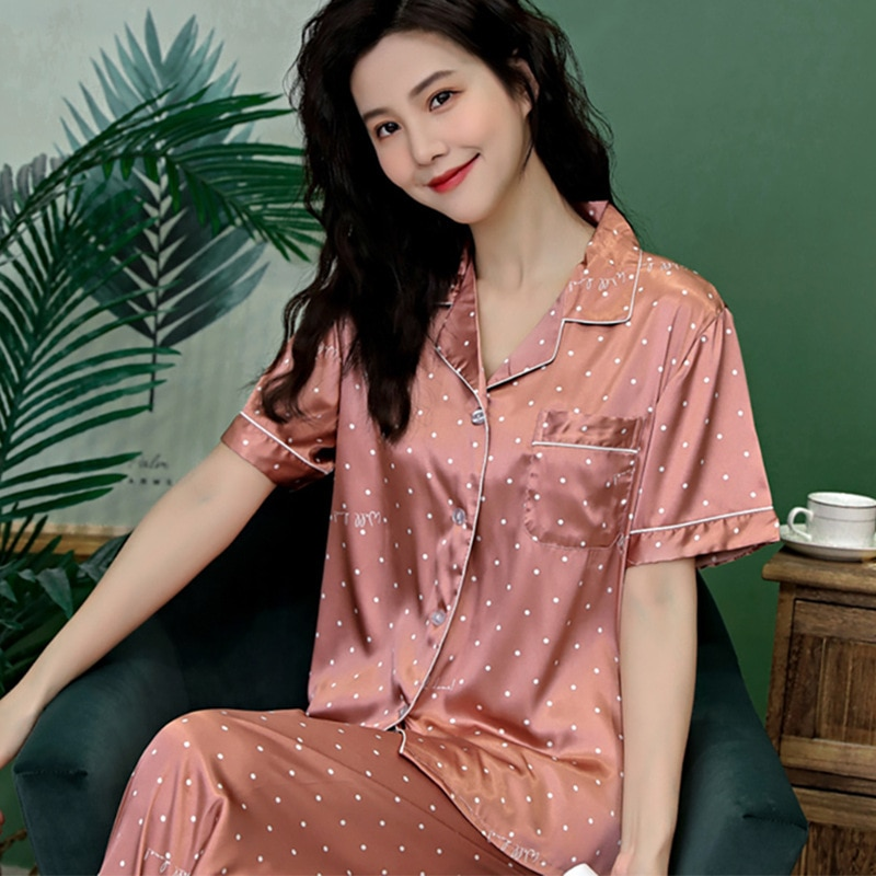 Ponto de onda impressão pijamas feminino terno de seda gelo manga curta calças terno pijamas