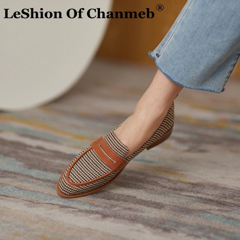 LeShion من Chanmeb 2021 الربيع hh9 stبتقنية إنجلترا منقوشة بيني المتسكعون النساء حذاء مسطح غير رسمي جولة تو ريترو خمر الشقق جديد