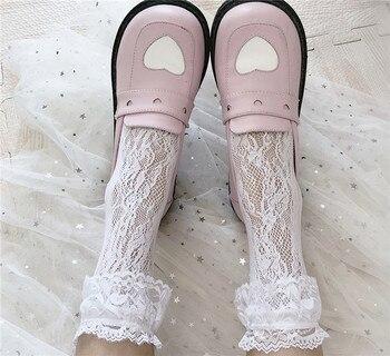 Japan Women Cute Kawaii Lolita Sock Girl High Student Summer Kawaii Lace Sexy Stock Bowknot Heart-Shaped Sweet Pile Of Socks