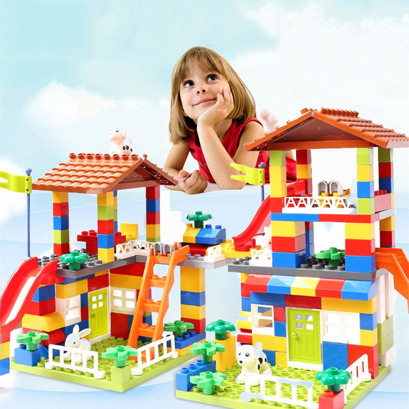 Big Size Slide Building Blocks toys Big Particle Roof Blocks Compatible Duploed City House Castle Brick Toys For Children недорого