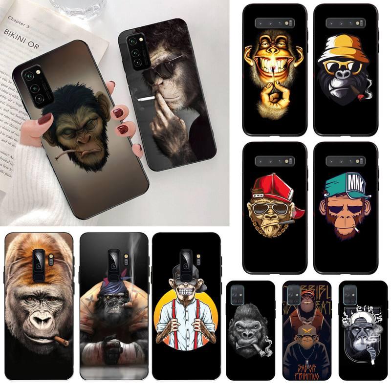 Penghuwan fumar macaco orangotango capa preta escudo macio caso de telefone para samsung s20 plus ultra s6 s7 borda s8 s9 mais s10 5g