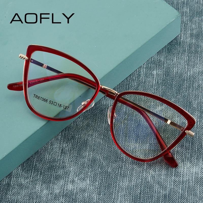 AOFLY Cat Eye Anti Blue Light Glasses Women Brand Design Fashion Anti-fatigue Prescription Reading Eyewear Frame Ladies UV400
