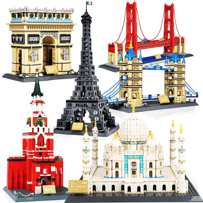Taj Mahal, Torre Eiffel, Louvre, par de Londres, puente, Rusia, Wange City Architecture Compatible con Juguetes de bloques de construcción de Nueva York