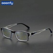 Seemfly Anti-blue Light Square Frame Progressive Multifocal Reading Glasses Women&Men Gradient Spring Leg Presbyopia Eyeglasses