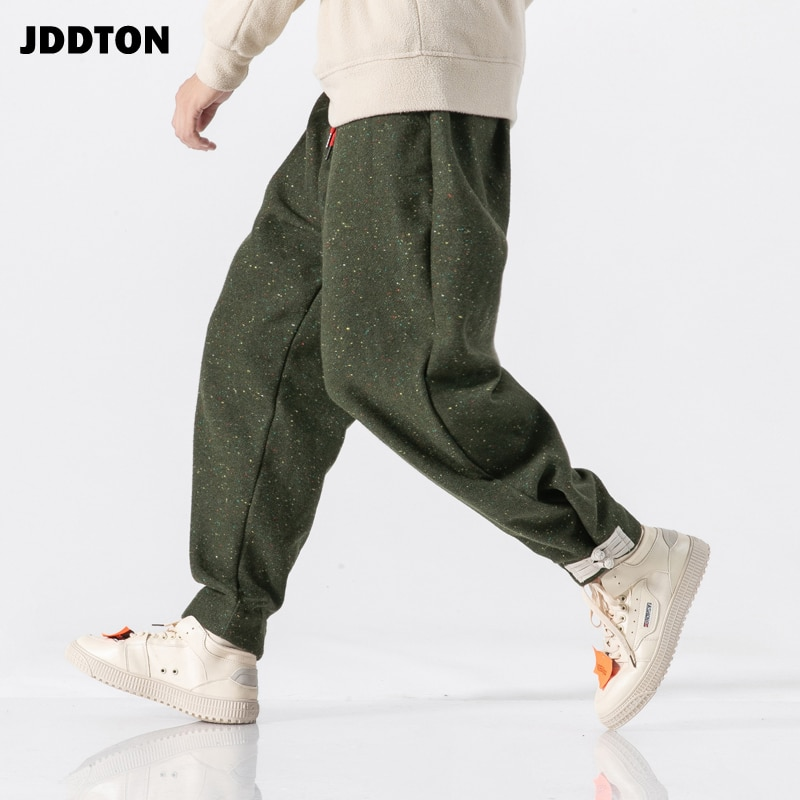 JDDTON pantalones de algodón grueso Harem estilo chino Harajuku Casual Jogger pantalones holgados hombre Streetwear Track pantalones JE151