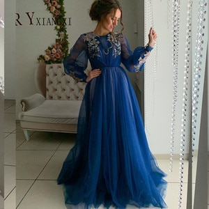Vestidos 2020 Royal Blue Evening Dresses Long A-Line Full Sleeves Lace Appliques Floor Length Evening Dress Formal Party Gowns