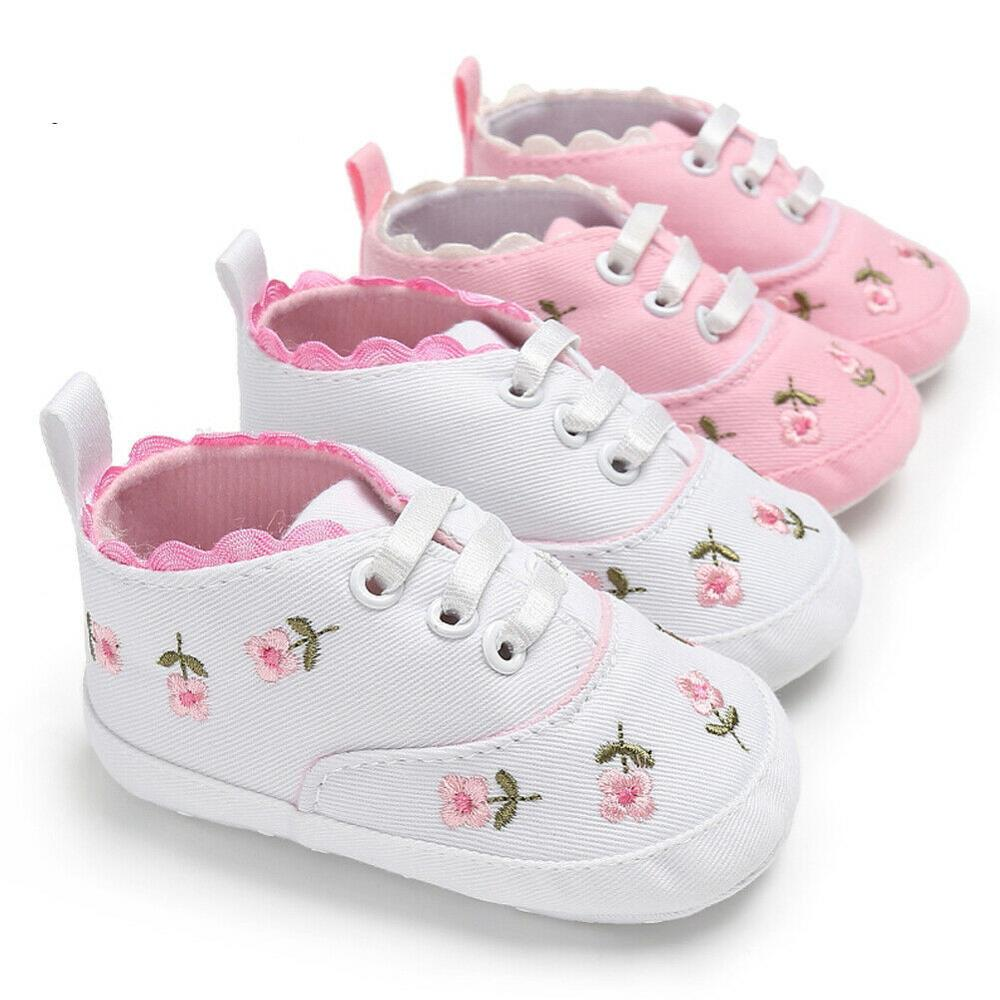 0-18M Baby Shoes Baby Girl Embroidery Flower Soft Sole Crib Shoes Toddler Summer Princess First Walk