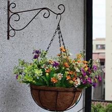 Pot de fleurs de balcon en fer forgé   Style européen, support de panier suspendu mural, en fer forgé, décoration de jardin domestique