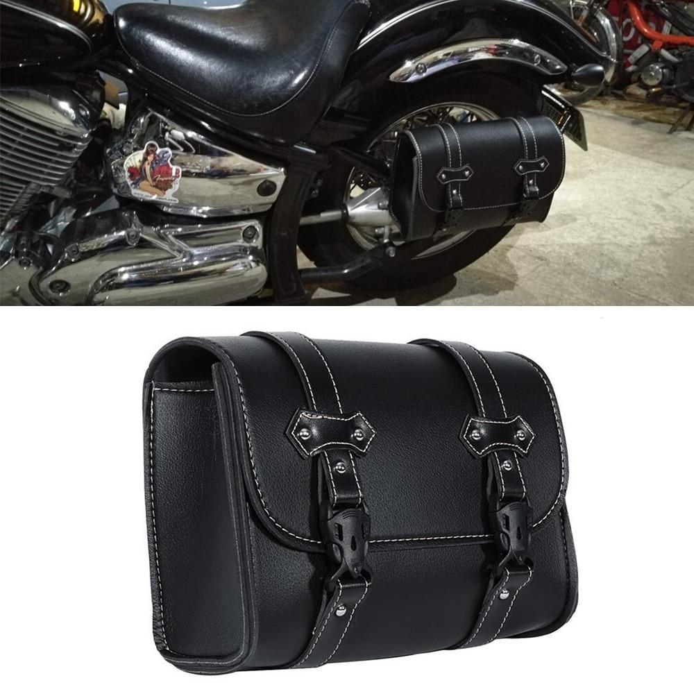 Alforja de cuero PU para Harley Dyna Softail Touring Sportster XL883 XL1200 XL 883, bolsa de herramientas, bolsa de equipaje