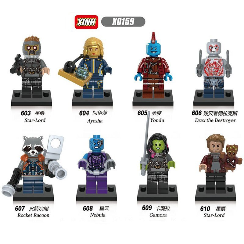 X0159 8 unids/lote guardianes de la galaxia 2 Star-Lord Gamora Drax Rocket Yondu Ayesha nebulosa juguetes para niños figuras de bloques compatibles