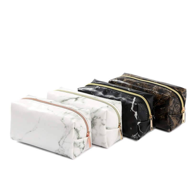 Mármol de la escuela estuche para lápices Kawaii para niñas niño grande con cremallera bolso de almacenamiento de maquillaje, bolso cosmético, lápiz caja de suministros Corea papelería