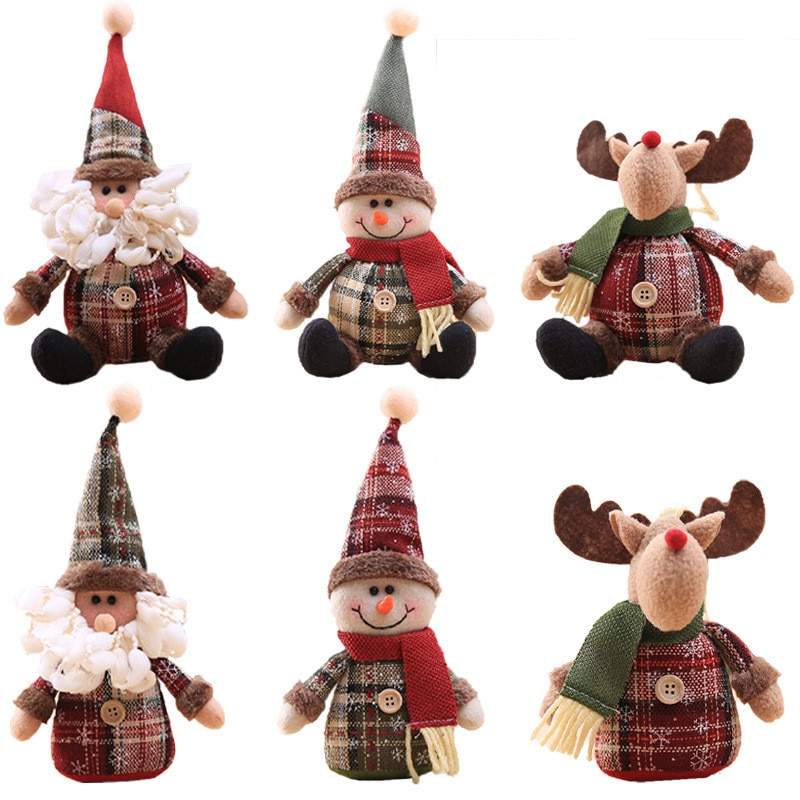 Merry Christmas santa claus Snowman Elk Doll Decorations for Home Tree Hanging New Years Navidad 2021