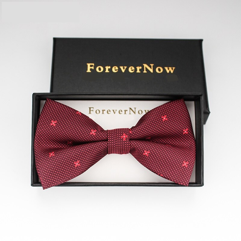 2019 New Fashion Men's Bow Ties for Wedding Double Fabric Flower Red Bowtie Club Banquet Anniversary Butterfly Tie with Gift Box