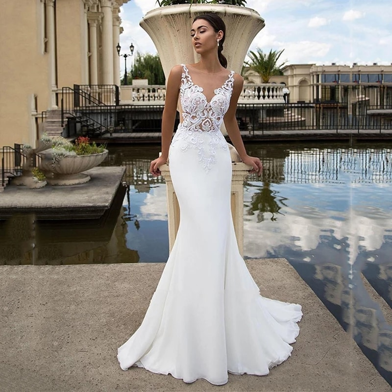 Promo ChuYu 2021 Vintage Satin Mermaid O-Neck  Back Illusion Lace Appliques Bridal Gowns Long Sample  Wedding Dress Formal Occasion