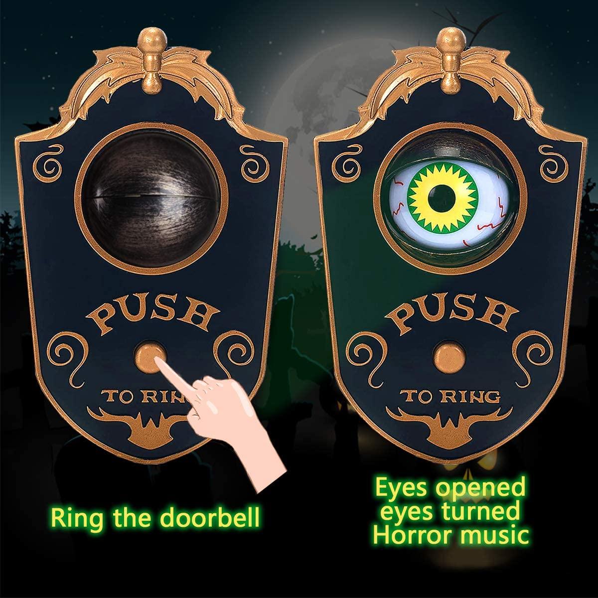 Украшение на Хэллоуин, дверной звонок на Хэллоуин, дверной звонок с привидениями, декор с анимированным глазным яблоком на Хэллоуин с жутки...