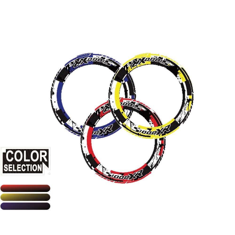 MTKRACING 4x máquina pesada llanta neumático color neumático pegatina rayas redondo reflectante etiqueta adecuada para BMW S1000XR S1000 XR