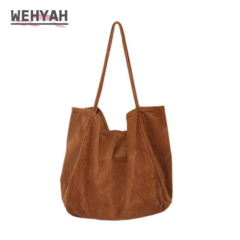 Wehyah سميكة Cordury عارضة حمل حقيبة اليد أكياس للمرأة حقيبة حقائب مفتوحة المخملية المعتاد مخلب محفظة الصلبة الكتف حقيبة ZY077