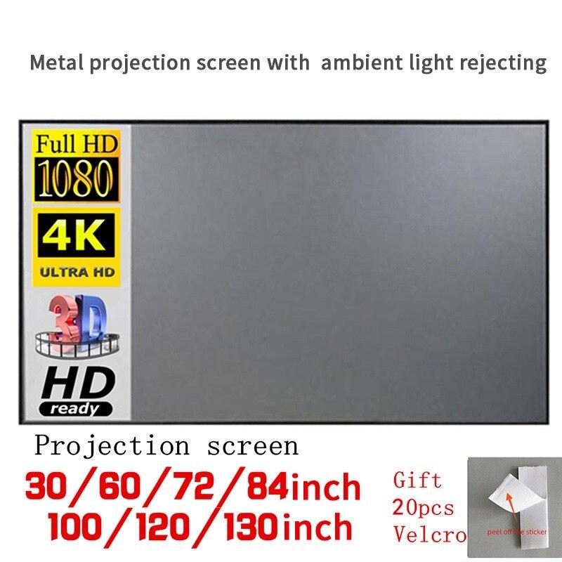 Pantalla del proyector 30 60 72 84 100 120 130 pulgadas tela reflectante para YG300 T6 XGIMI H2 HALO Mogo Xiaomi DLP proyector