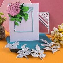 Troqueles de corte de Metal con borde de hipotenusa rectangular Plantilla de corte de hojas de flores molde artesanal para corte de papel plantillas para perforar con cuchillas