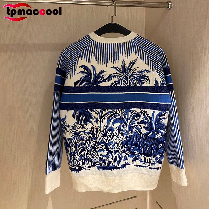 Paris Designer Fall Autumn 2021 Women Clothing Vintage Letter Jacquard Logoed Palm Tree Pullover Knitwear Long Sleeve Sweaters enlarge