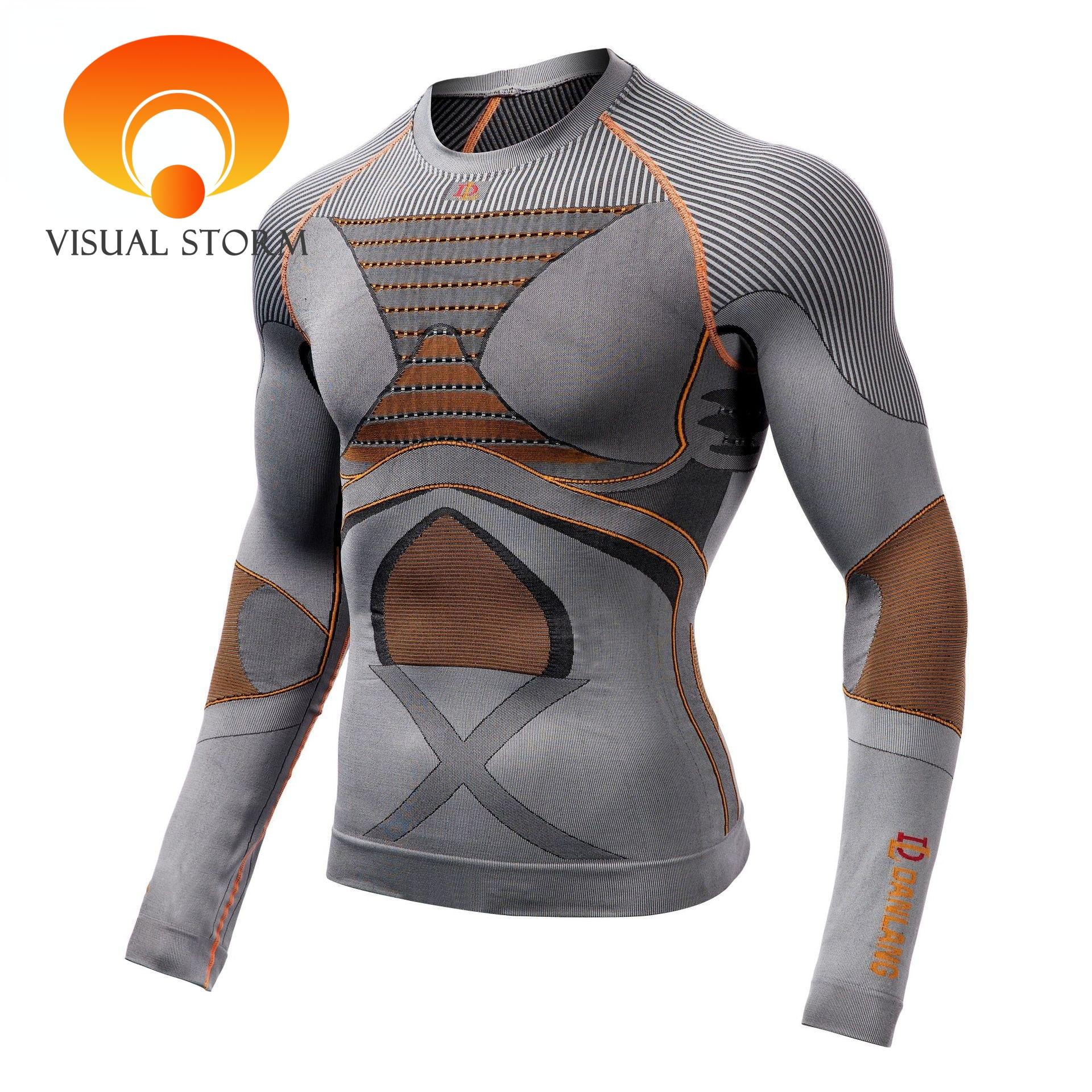 Professional Men Sport Shirt 3D Body Shaper Running Compression Shirts Corset Jersey Waist Trainer Slim Tops Gym Workout Sets