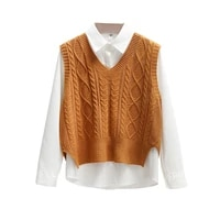 korean style fashion women sweater vest 2021 new spring fall sleeveless knitted v neck pullovers female jumper top outerwear