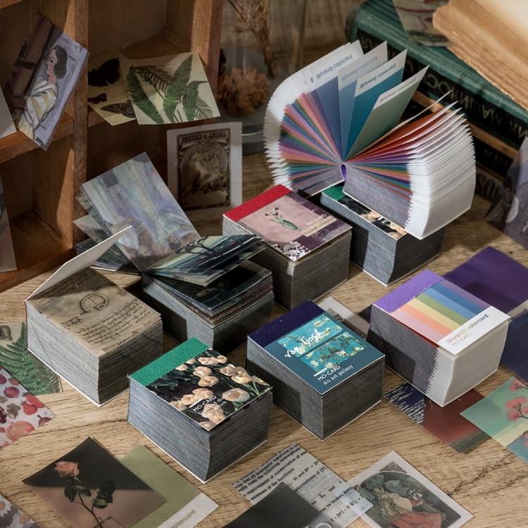 366 pcs of Van Gogh color multi-style plant news kraft paper card diary bullet DIY scrapbook butter material paper retro LOMO