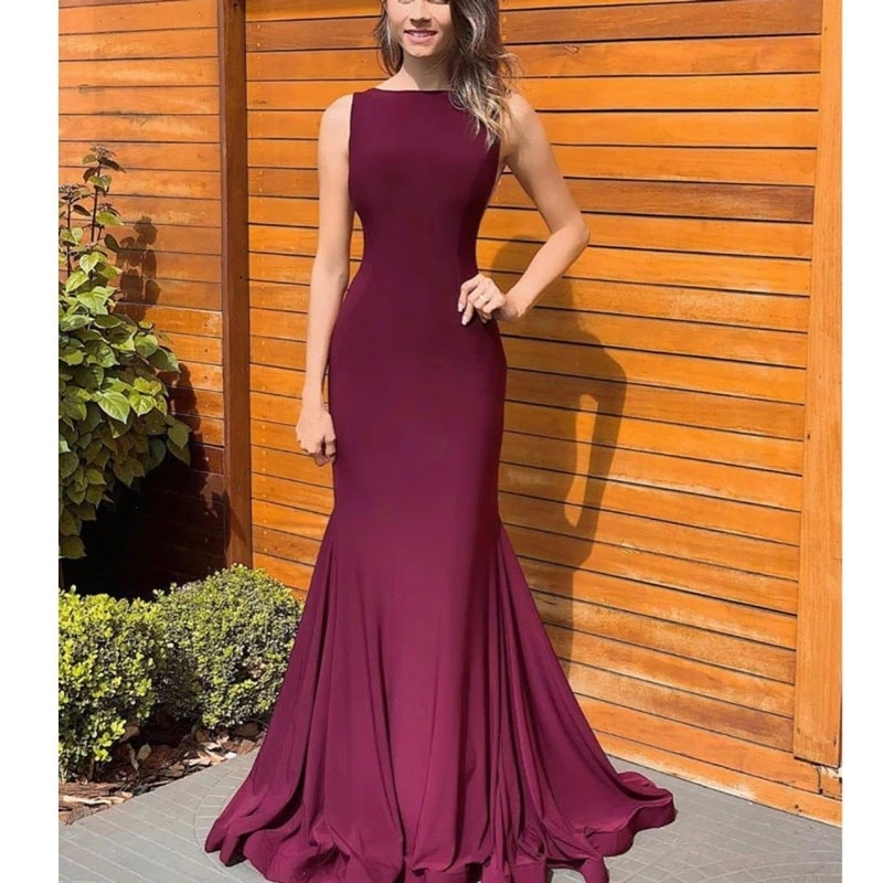 Burgundy Evening Dresses Mermaid / Trumpet Jewel Sweep/Brush Party Dresses Floor length Sleeveless Draped Party Gowns Simple