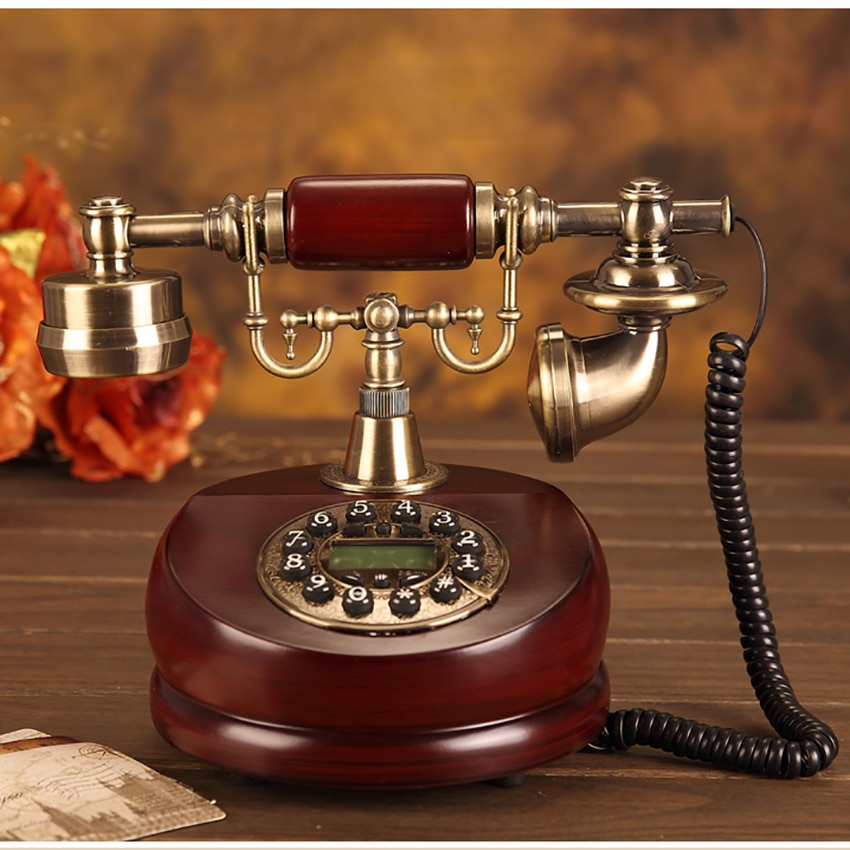 العتيقة هاتف سلكي ، الراتنج الثابتة الرقمية الرجعية الهاتف زر الاتصال الهاتفي خمر الهواتف الزخرفية الهاتف الثابت لمكتب المنزل
