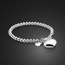 Bracelet simple de perles de boule de 4MM/6MM de haute qualité. Bijoux en forme de coeur en argent massif 925. Mode femmes argent 15cm/20cm chaîne