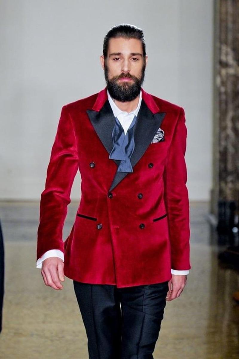 Handsome Velveteen Groomsmen Peak Lapel Groom Tuxedos  Men Suits Wedding/Prom/Dinner Best Blazer(Jacket+Pants+Tie) 018