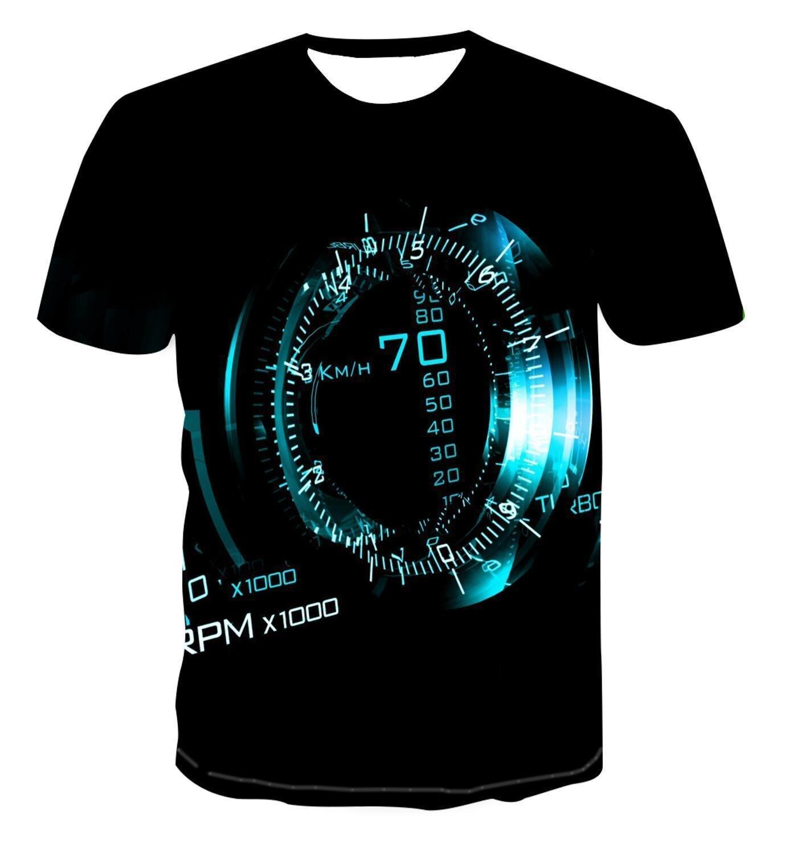 2018 summer fashion 3d print men s short sleeve t shirt 3d New Print Personalized Clock Geometry T -Shirt Fashion Street Style Men 'S Summer Short Sleeve Top T -Shirt S -6xl