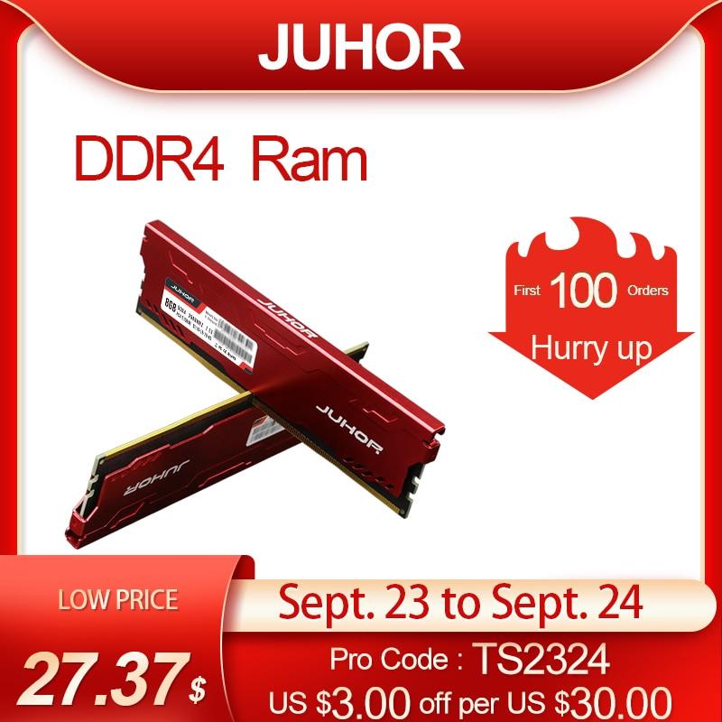 JUHOR DDR4 ram 16GB 8GB 4GB 2133MHz 2400MHz 2666MHz 3200MHz 3000MHz DIMM Desktop Memory New dimm Ship memoria rams with HeatSink
