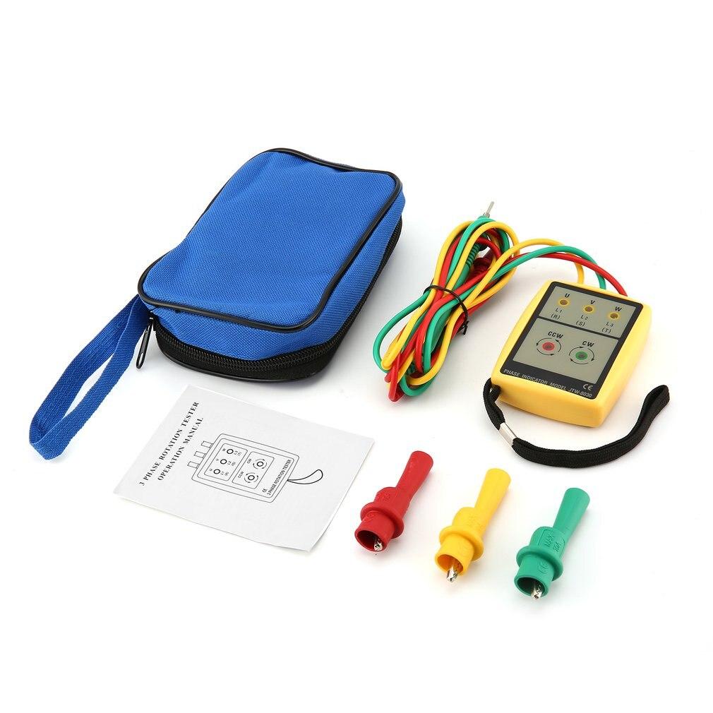 JTW JTW-8030 Portable 3 Phase Sequence Meter Multimeter Presence Rotation Tester Indicator Detector LED Buzzer