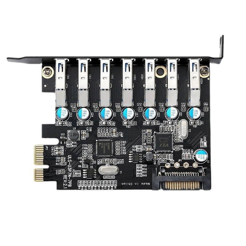 بطاقة توسعة USB 3.0 5Gbps PCI Express (PCI-E) بعدد 7 منافذ لـ WINDOWS XP/VISTA و 7,8 و 8.1 و LINUX