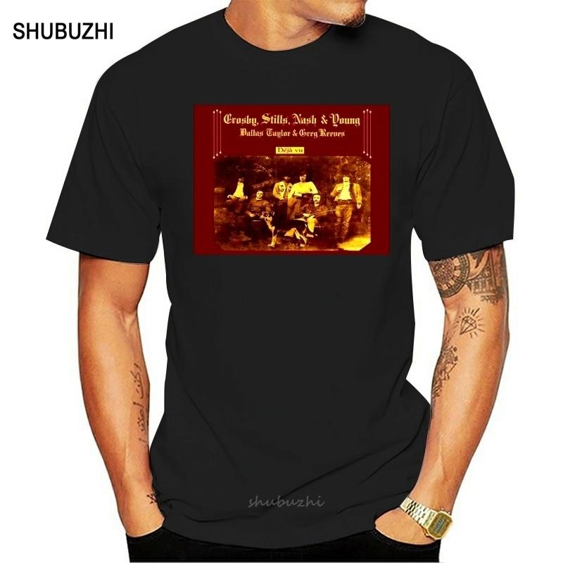 Crosby Stills, camiseta joven de Ash, Deja Vu, Camiseta de algodón para hombre, camiseta de marca de verano, talla europea