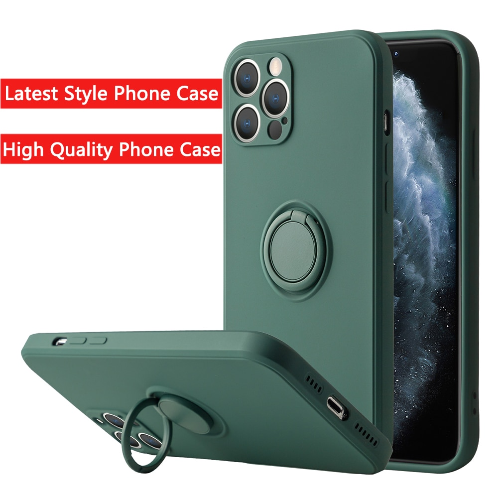 Liquid Silicone Finger Ring Stand Magnetic Holder Bracket For iPhone 12 11 Pro Max Mini XR X XS Max
