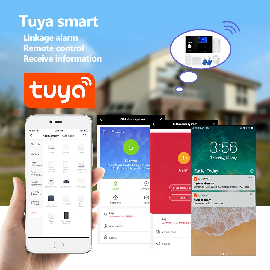 FUERS WIFI 4G Tuya Alarm Systems Smart Home Security Alarm System Kit Wireless Control Siren Motion Detector PIR Smoke Sensor enlarge