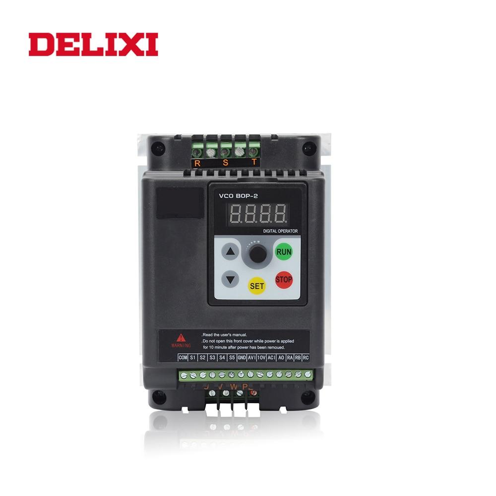 DELIXI-عاكس تردد VFD 0.4KW 0.75KW1.5KW 2.2kw 3kw 220V ، دخل أحادي الطور وثلاث مراحل ، محول سرعة المحرك