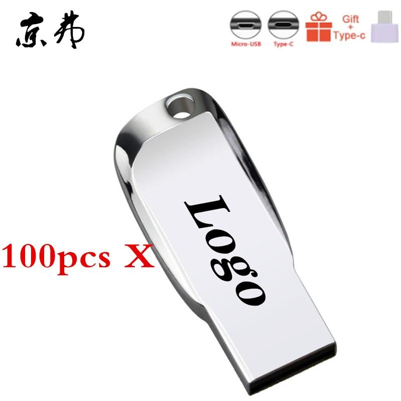 100pcsLot Free Logo USB 2.0 Usb Flash Drive Pen Drive 4GB 8GB 16GB 32GB Pendrive Waterproof Metal U Disk Memory Stick Cle USB