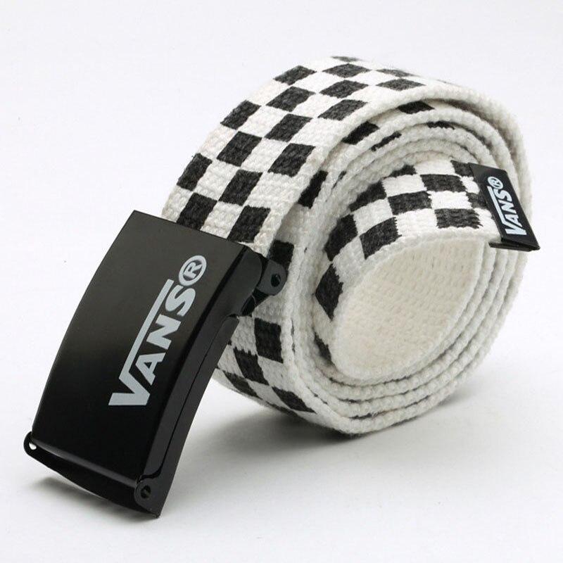 Mens Women's belt Waistband 110cm Black White Plaid Belt Canvas Checkerboard Belts Cummerbunds Canva