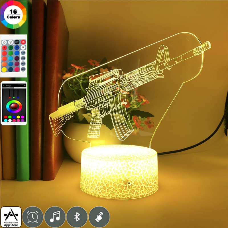 M16 Rifle GARAGE KIT Cool Collect 3d Led Night Light for Children Birthday Holiday Gifts Event Prize 7 Colors Lamp App Control